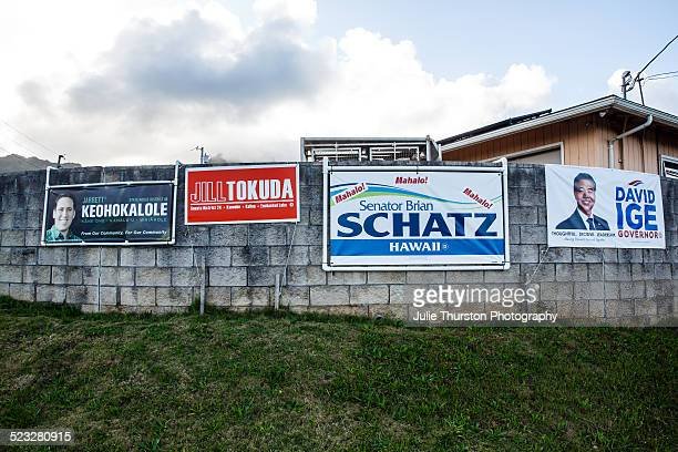 Voting Candidate Signs For Senator Brian Schatz Jill Tokuda David Ige Governor and District House Jarrett Keohokalole Hanging on a Wall in Kaneohe...