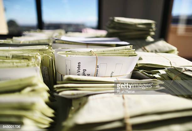 Voting cards are seen at the Gordon counting centre in on July 5 2016 in Sydney Australia Counting continues after election night on Saturday with...