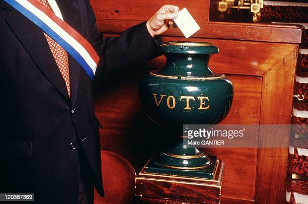 Voting for Senate members in Paris France Voting with a magnetic card