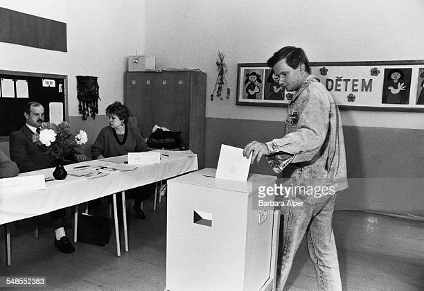 Voting in the parliamentary elections in Prague Czechoslovakia 7th June 1990 This is the first election in the country since the end of Communist...