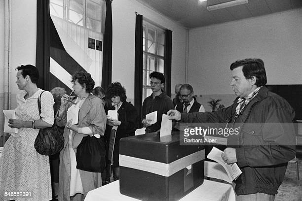 Voting in the parliamentary elections in Prague Czechoslovakia 8th June 1990 This is the first election in the country since the end of Communist...