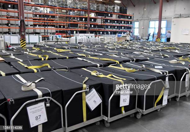 Voting machines are boxed up at the Clark County Election Department on November 5, 2020 in North Las Vegas, Nevada. Donald Trump and Joe Biden...