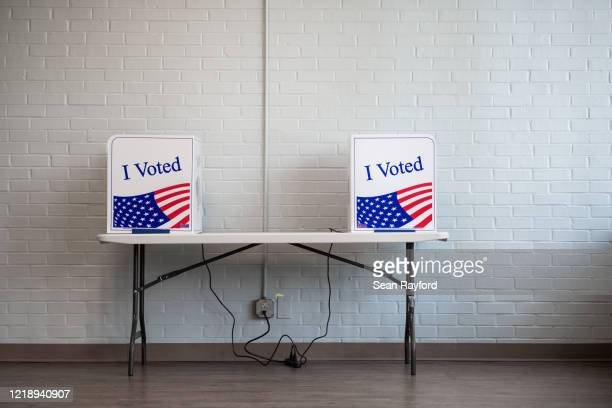 Voting machines are shown at a polling location on June 9, 2020 in West Columbia, South Carolina. Georgia, Nevada, North Dakota, South Carolina and...