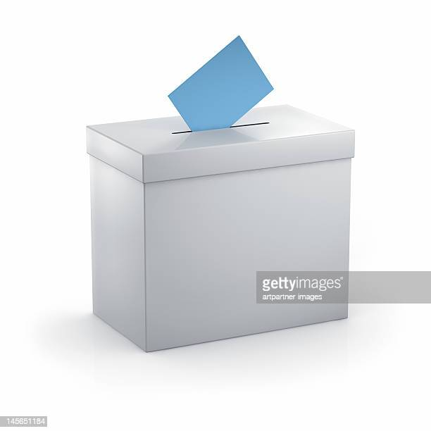 Voting or ballot box and voting slip