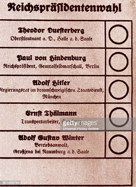 Voting paper from the German election of 1932 Shows name of Hitler and Hindenburg for the office of President