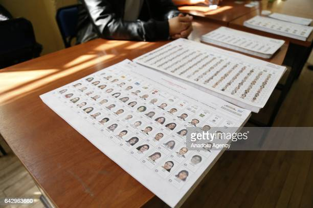 Voting papers are seen during the general elections at a polling station in Quito Ecuador on February 19 2017