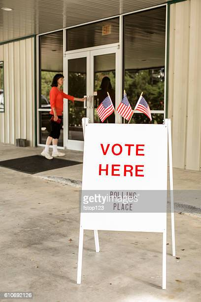 Voting sign outside local polling station during American November elections.