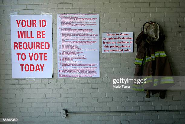 Voting signs are posted for the election in a firehouse November 4 2008 in Selma Alabama Selma was a touchstone in the civil rights movement where Dr...