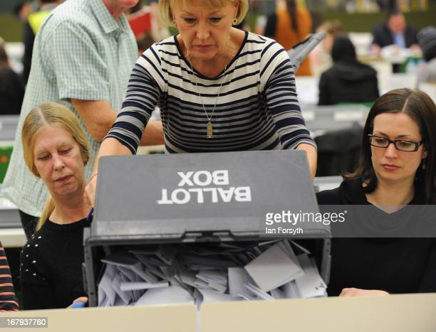 Voting slips are emptied out of the ballot box as the count begins at the byelection on May 2 2013 in South Shields England The byelection was...