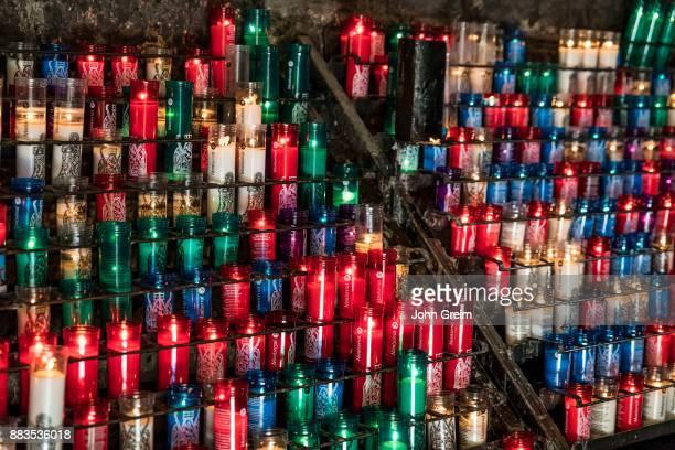 MONTSERRAT CATALONIA SPAIN Votive candles in Santa Maria de Montserrat Abbey