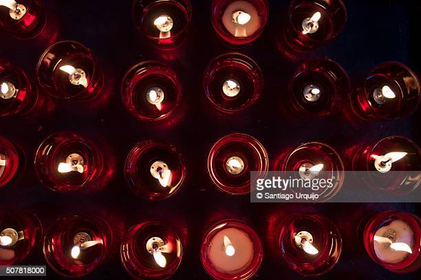 Votive candles inside cathedral of St. Michael and St. Gudula