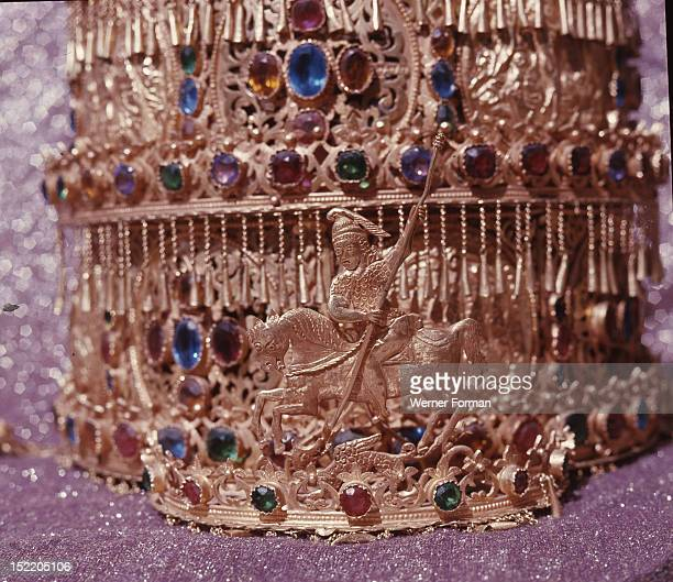 Votive crown of Menelik II dedicated after the Ethiopian victory over the Italian invasion in 1896 Detail Ethiopia Coptic 19th c Axum