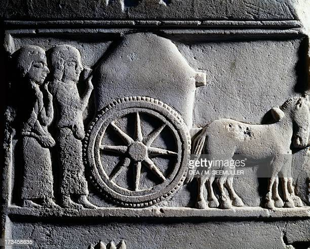 Votive stele depicting a Transport scene of a chariot drawn by horses from Daskyleion Turkey GreekPersian civilisation 5th century BC Istanbul...