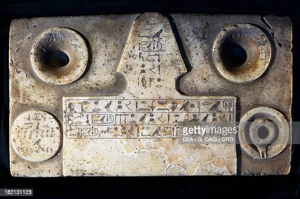 Votive table showing the cartouches of Djedkare Isesi and Sneferu alabaster from Saqqara Egyptian Civilisation Old Kingdom Cairo Egyptian Museum