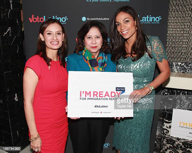 Voto Latino Chairman/CEO Maria Teresa Kumar United States Secretary of Labor Hilda Solis and actress Rosario Dawson attend Voto Latino's 2013...