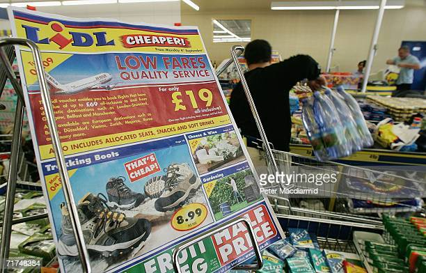 Vouchers for cheap air flights are advertised at a Lidl supermarket on August 30 2006 in south London England Lidl supermarkets will offer the...
