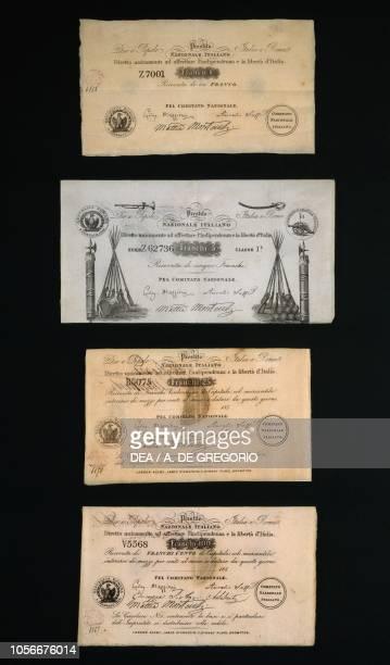 Vouchers of 'Prestito nazionale italiano diretto unicamente ad affrettare l'indipendenza e la liberta d'Italia' with signatures of Saffi Mazzini...