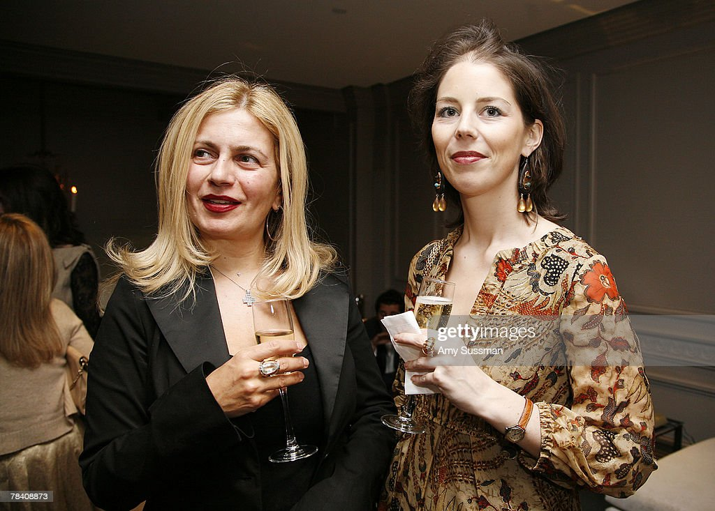 Voula Apostolides (L) and Delphine Stefens (R) attend the Leviev Diamonds and Elite Traveler holiday cocktail party at Leviev Diamonds December 11, 2007 in New York City.