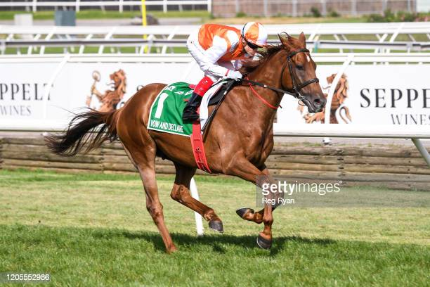 Vow And Declare ridden by Craig Williams heads to the barrier before the TAB Australian Cup at Flemington Racecourse on March 07, 2020 in Flemington,...