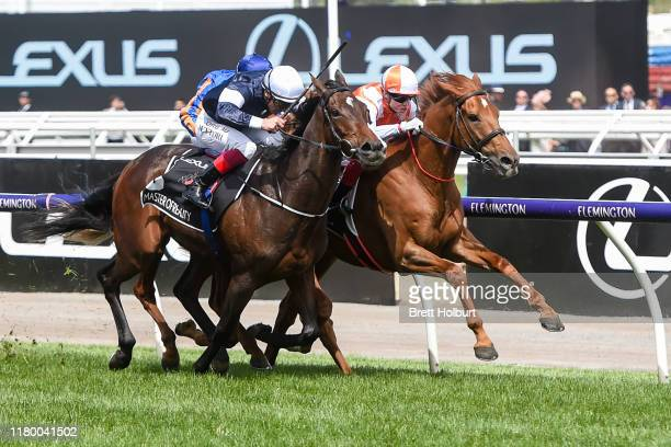 Vow And Declare ridden by Craig Williams wins the Lexus Melbourne Cup at Flemington Racecourse on November 05, 2019 in Flemington, Australia.
