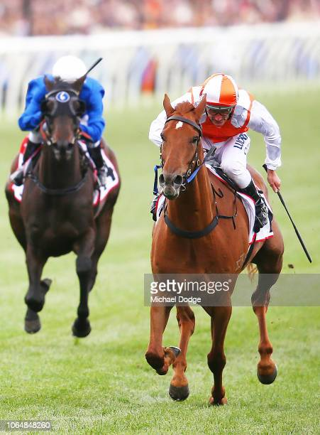 Vow And Declare ridden by Damien Oliver wins race 7 the TCL TV Stakes during Oaks Day at Flemington Racecourse on November 08, 2018 in Melbourne,...