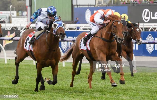 Vow And Declare ridden by Damien Oliver wins the TCL TV Stakes at Flemington Racecourse on November 08 2018 in Flemington Australia