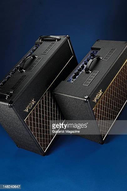 Vox AC30VR and AC15VR electric guitar amplifiers during a studio shoot for Guitarist Magazine March 1 2010