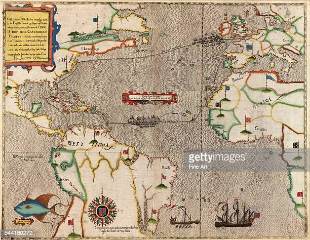 'Voyadge' showing Europe western Africa northern South America and eastern North America Map and views illustrating Sir Francis Drake's West Indian...