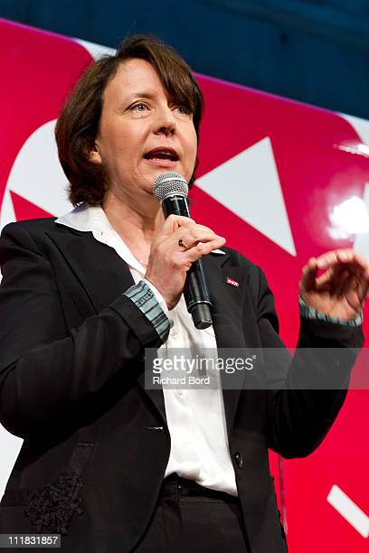 Voyages general manager Barbara Dalibard attends the SNCF presentation at Gare Montparnasse on April 7 2011 in Paris France French train company SNCF...