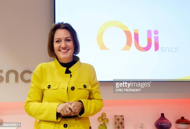 Voyages SNCF head Rachel Picard gives a press conference to present the 'ouisncf' website which replaces 'voyagessncfcom' on December 6 2017 / AFP...