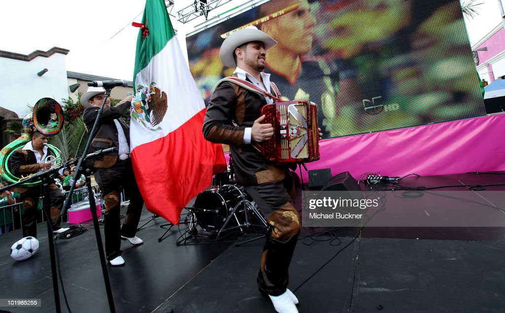 Voz De Mando performs onstage during the T-Mobile World Cup Viewing Party at Plaza Mexico on June 11 at Plaza Mexico in Lynwood, CA.