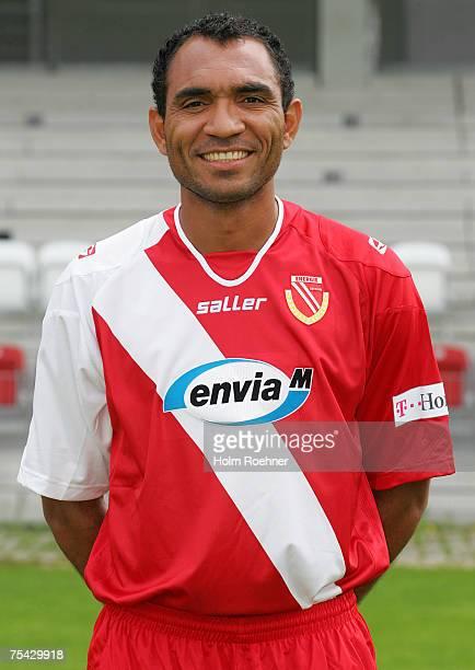 Vragel da Silva poses during the Bundesliga 2nd Team Presentation of FC Energie Cottbus on July 13 2007 in Jena Germany