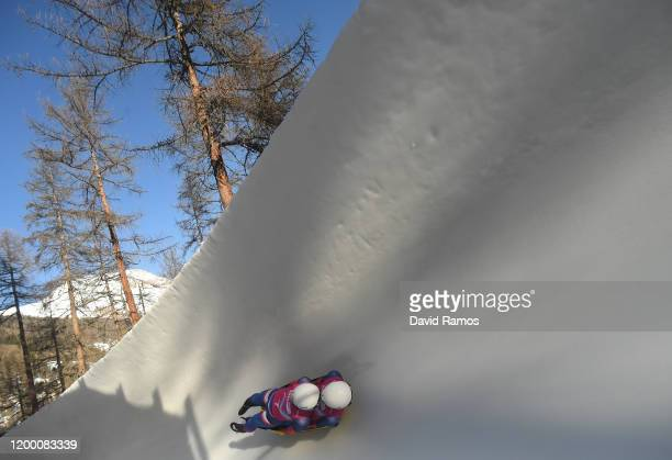 Vratislav Varga and Metod Majercak of Slovakia compete in Men's Doubles Competition first run in luge during day 8 of the Lausanne 2020 Winter Youth...