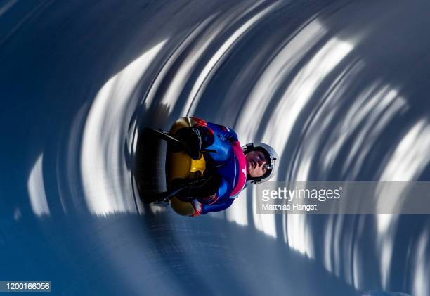 Vratislav Varga and Metod Majercak of Slovakia compete in the Men's Doubles Competition Run 2 in luge during day 8 of the Lausanne 2020 Winter Youth...