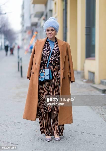Vreni Frost wearing a leopard print suit Lala Berlin Miu Miu bag Missoni coat hat brekka Jimmy Choo shoes during the MercedesBenz Fashion Week Berlin...