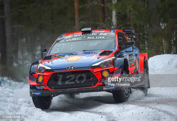 Värmland Sweden 14 February 2019 Thierry Neuville and Nicolas Gilsoul in their Hyundai i20 Coupe WRC during the shakedown prior to the FIA World...