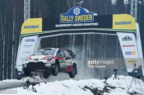 Värmland Sweden 16 February 2019 Ott Tanak and Martin Jarveoja in their Toyota Yaris WRC during SS13 Hagfors 2 at the FIA World Rally Championship...