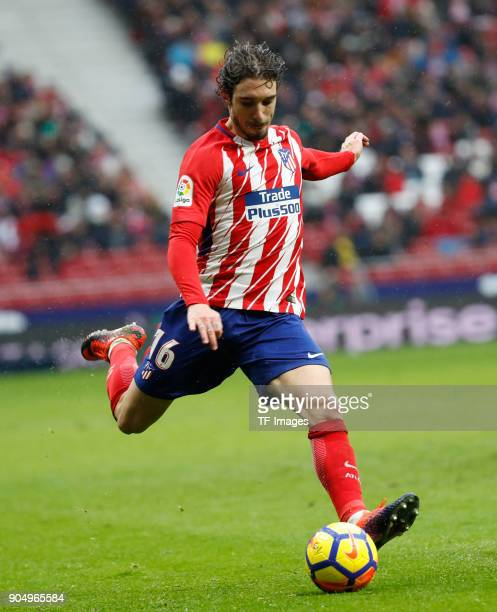 Vrsaljko of Atletico Madrid controls the ball during the La Liga match between Atletico Madrid and Getafe at Estadio Wanda Metropolitano on January 6...