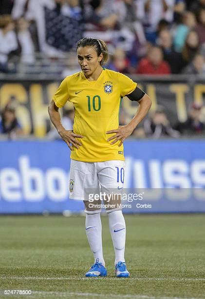 USA vs Brazil Women's Soccer Brazil midfielder Marta during an International Friendly at CenturyLink Field in Seattle Washington