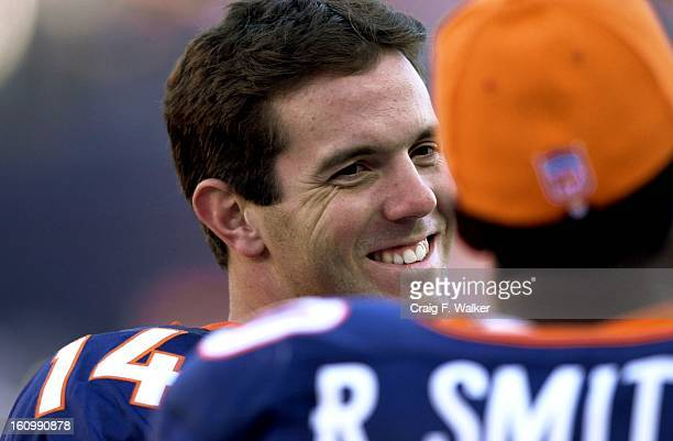 DENVER COBRONCOS vs BROWNSDenver Broncos QB Brian Griese smiles as he talks with Rod Smith on the sidelines late in the 4th quarter The Broncos beat...