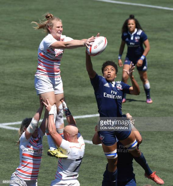 USA vs England on day two of HSBC Canada Women's Sevens Rugby action at Westhills Stadium in Langford Canada May 28 2017 / AFP PHOTO / Don MacKinnon