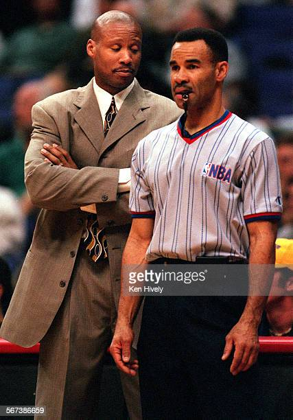 NETS vs LOS ANGELES CLIPPERS at Staples Center November 20 2000 Photo of New Jersey Nets head coach Byron Scott not happy with call made by referee...