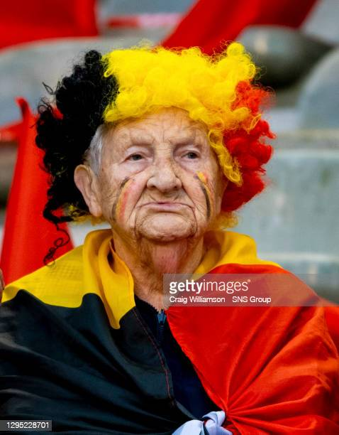 Vs SCOTLAND .KING BAUDOUIN STADIUM - BRUSSELS.A Belgium fan decorated in a flag and wig combination.