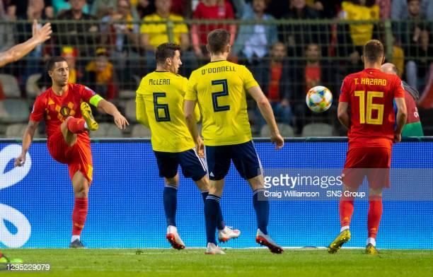 Vs SCOTLAND .KING BAUDOUIN STADIUM - BRUSSELS.Belgium's Eden Hazard with a deft chip to set up the opening goal