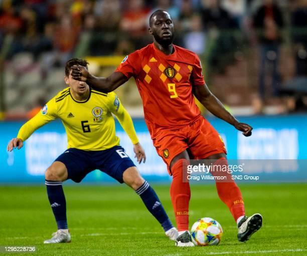 Vs SCOTLAND .KING BAUDOUIN STADIUM - BRUSSELS.Romelu Lukaku in action for Belgium.
