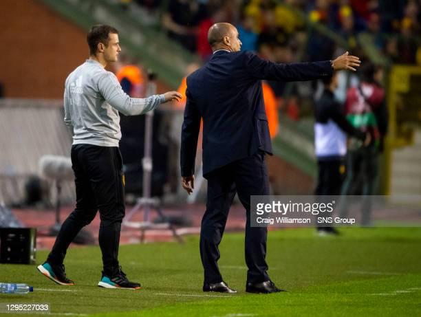 Vs SCOTLAND.KING BAUDOUIN STADIUM - BRUSSELS .Belgium manager Roberto Martinez and coach Shaun Maloney.