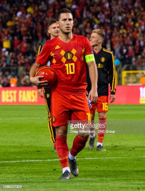 Vs SCOTLAND.KING BAUDOUIN STADIUM - BRUSSELS .Belgium's Eden Hazard walks off at Full Time