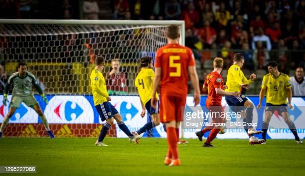 Vs SCOTLAND.KING BAUDOUIN STADIUM - BRUSSELS .Belgium's Kevin De Bruyne scores to make it 3-0