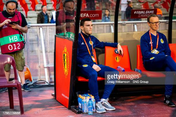 Vs SCOTLAND.KING BAUDOUIN STADIUM - BRUSSELS .Scotland Captain Andrew Robertson takes his place on the substitutes bench.