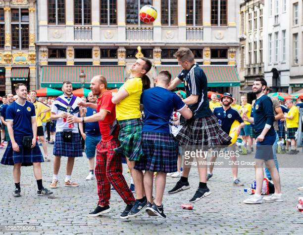 Vs SCOTLAND.KING BAUDOUIN STADIUM - BRUSSELS .Scotland Fans out in the city of Brussels before the match.